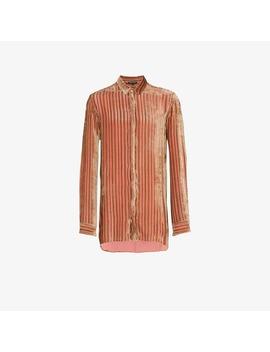 Velvet Stripe Silk Cashmere Blend Shirt by Ann Demeulemeester