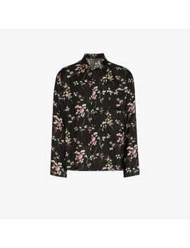 Black Floral Print Long Sleeve Shirt by Haider Ackermann