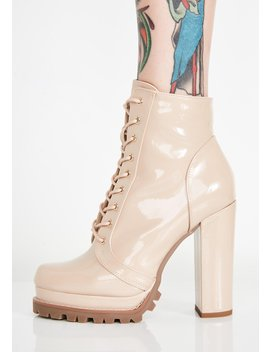 Nude Sassy Stepper Lace Up Boots by Liliana