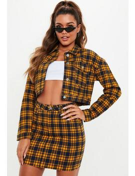 Yellow Checked Super Stretch Denim Skirt by Missguided