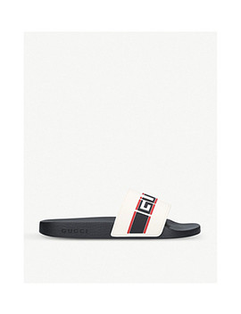 Logo Embossed Rubber Sliders by Gucci