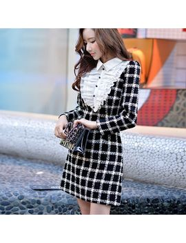 Original 2016 Brand Women's Autumn And Winter Woolen Dress Plus Size Slim Fashion Vintage Black Plaid Dresses Women  by L Ozrun Ve