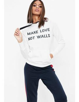 white-make-love-not-walls-sweatshirt by missguided