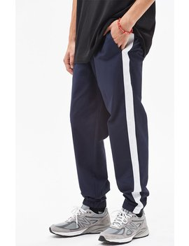 Warm Up Nylon Side Stripe Navy Pants by Pac Sun