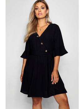 Plus Horn Button Wrap Ruffle Sleeve Skater Dress by Boohoo