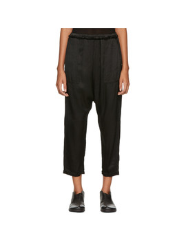 Black Satin Dropped Inseam Lounge Pants by Raquel Allegra