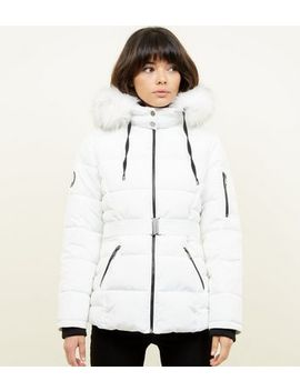 White Faux Fur Hood Belted Puffer Jacket by New Look