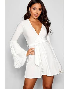 Plunge Neck Flared Sleeve Skater Dress by Boohoo