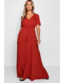 Plus Ruched Waist Maxi Dress by Boohoo