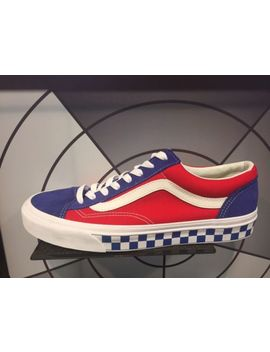 Vans Classic Old Skool Style 36 Bmx Checkerboard Blue Red White Usa Sz 8 13 New by Vans