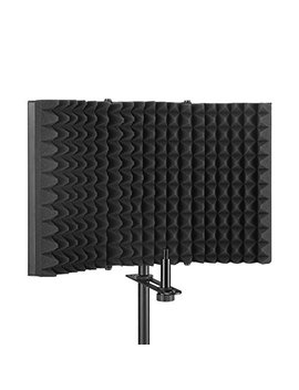 Aokeo Premium Microphone Isolation Shield, Foldable Adjustable Studio Recording Microphone Isolator Panel, Constructed With Industrial Quality Aluminum, High Density Absorbing Foam Cotton (Ao 403) by Aokeo
