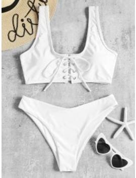 Lace Up Padded Bikini Set   White S by Zaful