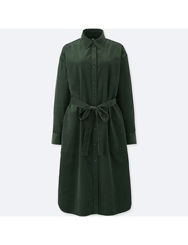Women Corduroy Long Sleeve Dress by Uniqlo