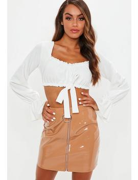 White Milkmaid Long Sleeve Tie Front Crop Top by Missguided