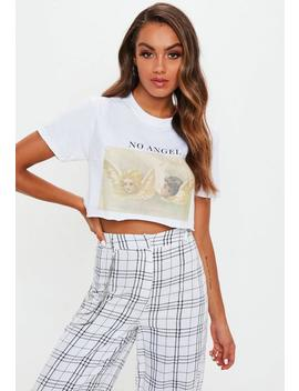 White No Angel Raw Hem Crop Tshirt by Missguided