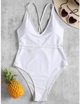 Self Tie Cross Back High Cut Swimsuit   White S by Zaful