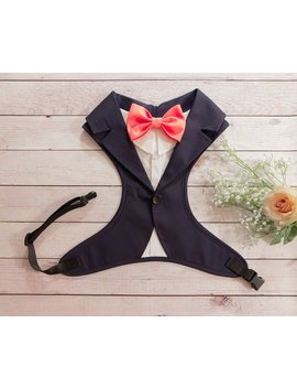 Wedding Tuxedo For Dogs, Formal Dog Tuxedo Harness Blue Navy, Custom Tuxedo, Dog Wedding Attire, Suit For Dog, Dog Bearer, Custom Bowtie by Bow Paw Tie