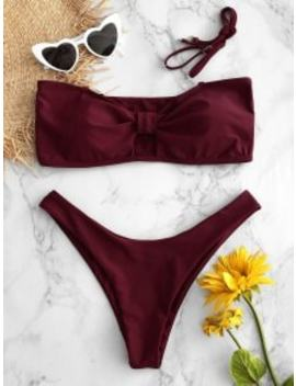 Keyhole Cheeky Bikini Set   Red Wine M by Zaful
