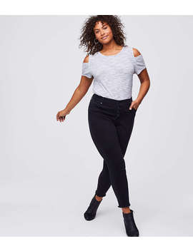 Loft Plus Button Fly Skinny Jeans In Black by Loft