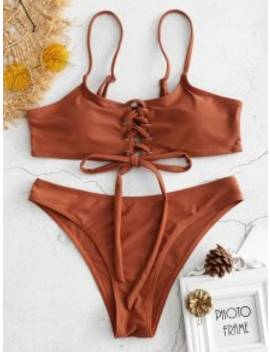 Lace Up Bikini   Brown M by Zaful