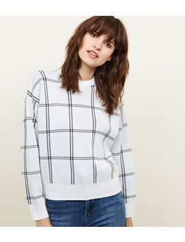 Off White Check Knitted Jumper by New Look