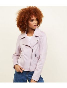 Lilac Suedette Biker Jacket by New Look