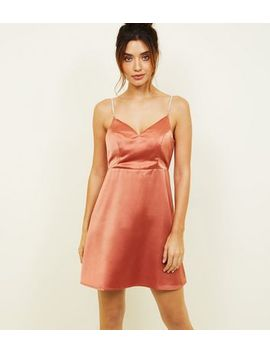 Rust Satin Diamanté Strap Party Dress by New Look