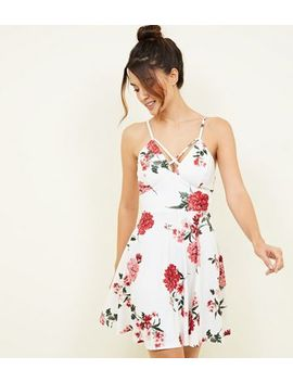 White Floral Skater Party Dress by New Look