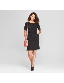 Women's Polka Dot Short Sleeve Twist Front Dress   A New Day™ Black by Shop All A New Day™