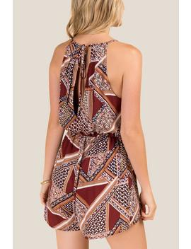 Nola Patchwork Printed Romper by Francesca's