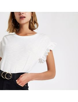 White Crew Neck Frill Sleeve T Shirt by River Island