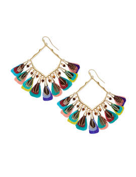 Raven Gold Drop Earrings In Multi Color Feather Bead Mix by Kendra Scott