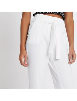 White Tie Waist Tapered Pants by River Island