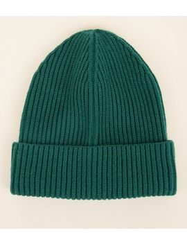 Dark Green Ribbed Beanie Hat by New Look