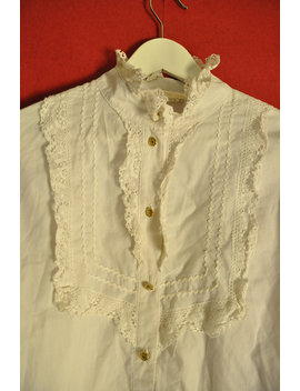 Vintage 80s Blouse Edwardian Style White L Ace Decor Button Down Top Size S Small by Virtage Vintage