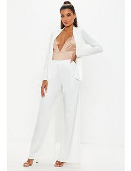 White Stretch Crepe Wide Leg Pants by Missguided