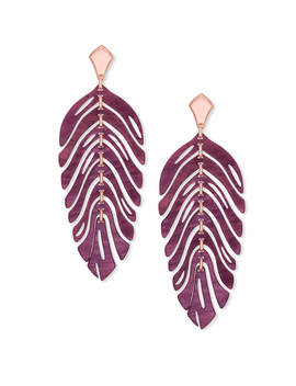 Lotus Rose Gold Statement Earrings In Maroon Marbled Acrylic by Kendra Scott