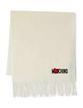 Logo Wool Fringe Scarf by Moschino