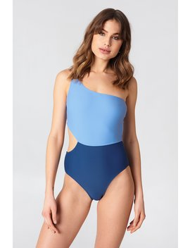 One Shoulder Block Swimsuit by Na Kd