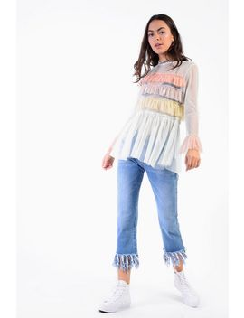 **Tulle Tiered Blouse By Glamorous by Topshop