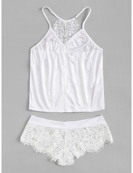 Contrast Lace Cami Top & Panty by Sheinside