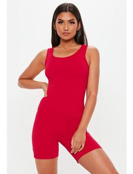 Red Scoop Neck Ribbed Unitard by Missguided