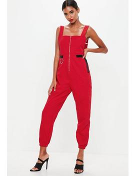 Red Backless Utility Dungaree Jumpsuit by Missguided