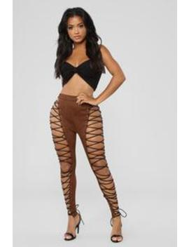 Round 'em Up Lace Up Pants   Brown by Fashion Nova