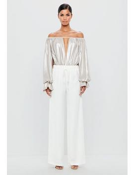 White Silky Wide Leg Trousers by Missguided