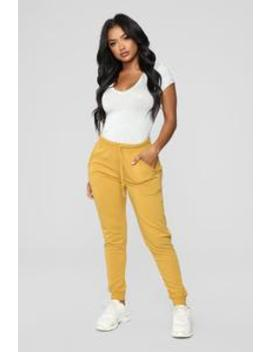 Latest And Greatest French Terry Jogger   Mustard by Fashion Nova