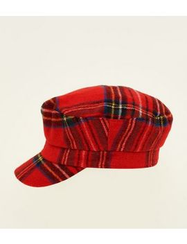 Red Tartan Bakerboy Hat by New Look