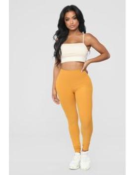 Never Basic Leggings   Mustard by Fashion Nova