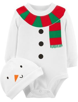 2 Piece Snowman Bodysuit & Hat Set by Carter's
