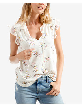 Floral Print Tie Neck Top by Lucky Brand